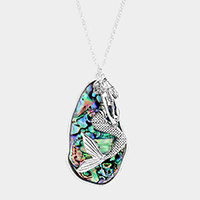 Abstract Abalone Mermaid Pendant Long Necklace