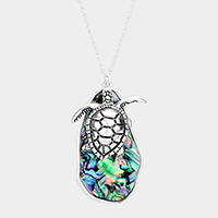 Abstract Abalone Turtle Pendant Long Necklace
