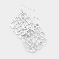 Rhombus Braided Metal Wire Earrings