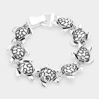 Metal Turtle Linked Magnetic Bracelet
