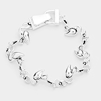 Metal Flamingo Linked Magnetic Bracelet