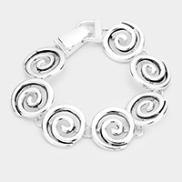 Metal Swirl Linked Magnetic Bracelet