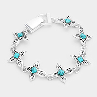 Turquoise Centered Metal Cross Linked Magnetic Bracelet