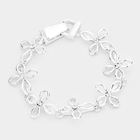 Crystal Centered Metal Cross Linked Magnetic Bracelet