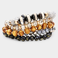 5PCS - Wood Multi Beaded Stretch Bracelets