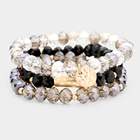 3PCS - Glass Bead Mixed Metal Bracelet Set
