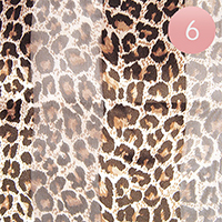 6PCS - Silk Feel Striped Leopard Pattern Scarf