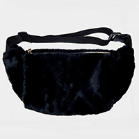 Half Moon Faux Fur Fanny Pack/ Hand Warmer