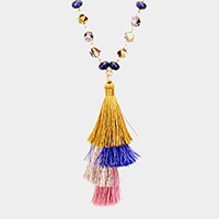 Glass Beaded Layered Tassel Pendant Long Necklace