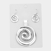 Metal Swirl Magnetic Pendant Set