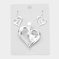 Metal Double Heart Magnetic Pendant Set
