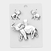 Metal Elephant Magnetic Pendant Set