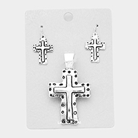 Hammered Metal Cross Magnetic Pendant Set