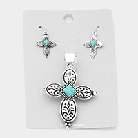 Patterned Metal Turquoise Cross Magnetic Pendant Set