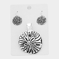 Metal Sand Dollar Magnetic Pendant Set