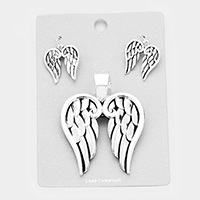 Metal Angel Wings Magnetic Pendant Set