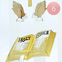 6PCS - Silk Feel Striped 'Holy Bible' Print Scarf