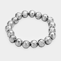 Textured Metal Bead Stretch Bracelet