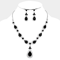 Crystal Pave Trimmed Teardrop Evening Necklace