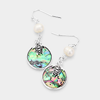 Metal Turtle Round Abalone Pearl Dangle Earrings