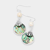 Metal Shell Round Abalone Pearl Dangle Earrings
