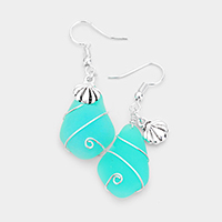 Wire Wrapped Sea Glass Metal Shell Earrings