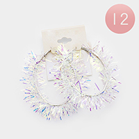 12Pairs - Hologram Oval Hoop Earrings