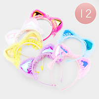 12PCS- Cat Ear Lace Metallic Headbands