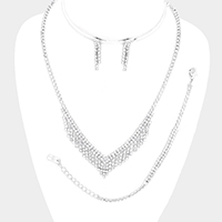 3PCS Rhinestone Pave v Necklace Set