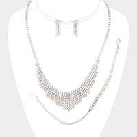 3PCS - Rhinestone Pave Bubble Necklace Set