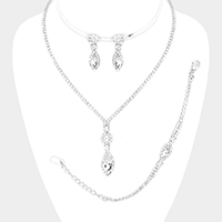 3PCS - Rhinestone Pave Marquise Necklace Set