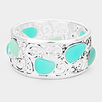 Abstract Sea Glass Metal Filigree Stretch Bracelet