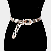 7Lines Buckle Accented Crystal Rhinestone Pave Chain Belt