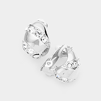 Crystal Embellished Metal Clip On Earrings