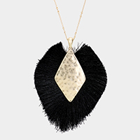Metal Centered Tassel Fringe Necklace