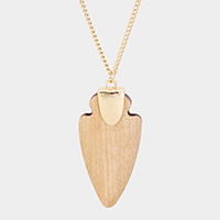 Wood Arrow Hammered Metal Pendant Long Necklace