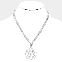 Double Strand Filigree Metal Pendant Toggle Necklace