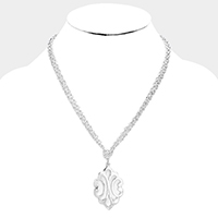 Double Strand Metal Pendant Toggle Necklace