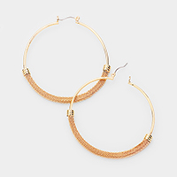 Wrapped Chain Accented Metal Hoop Pin Catch Earrings