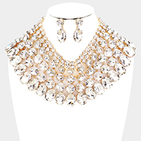 Crystal Glass Bib Statement Necklace