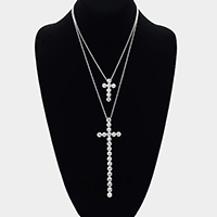 Double Layered Crystal Cross Pendant Necklace