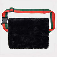 Rectangle Fluffy Faux Fur Fanny Pack