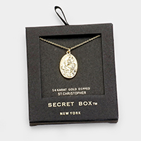 Secret Box _ Gold Dipped St. Christopher Pendant Necklace