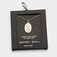 Secret Box _ Gold Dipped St. Joan Of Arc Pendant Necklace