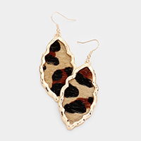 Genuine Leather Tiger Hammered Metal Earrings