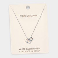 White Gold Dipped Cubic Zirconia Square Pendant Necklace