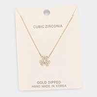 Gold Dipped Cubic Zirconia Clover Pendant Necklace