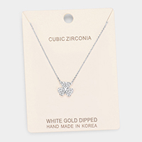 White Gold Dipped Cubic Zirconia Clover Pendant Necklace