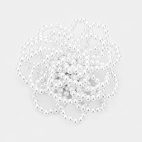 Tiny Pearl Cluster Floral Brooch