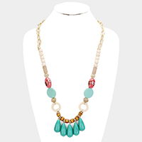 Abstract Ceramic Wood Bead Statement Long Necklace